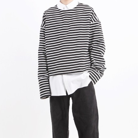 OVERFIT CROP LONG SLEEVE BLACK STRIPE