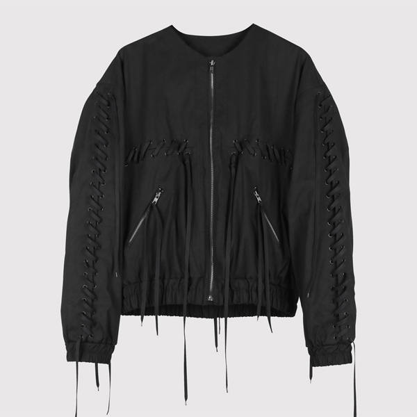 String Bomber Jacket Black