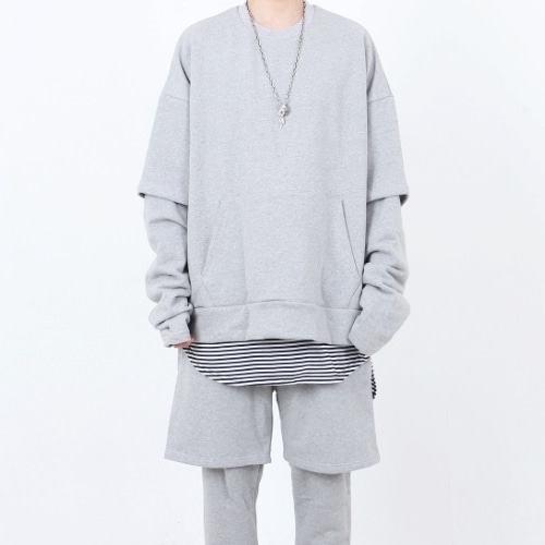 OVERFIT LAYERED SWEATSHIRT GREY