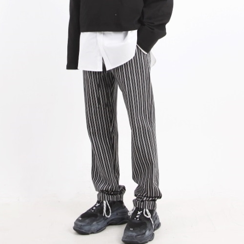 BLACK WIDE PANTS BLACK STRIPE
