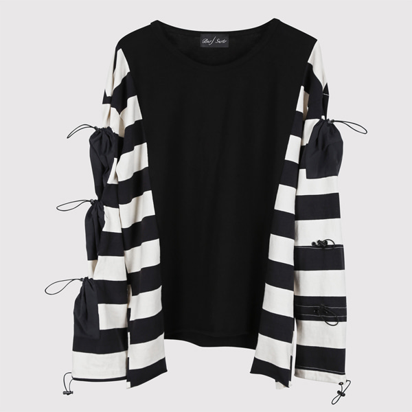 String Long Sleeve Stripe Black