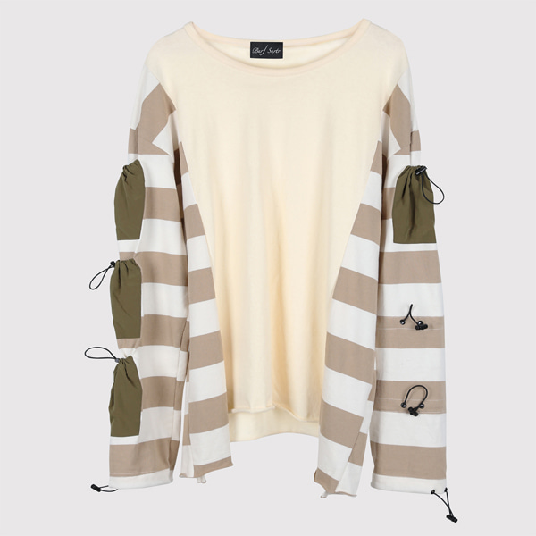 String Long Sleeve Stripe Beige
