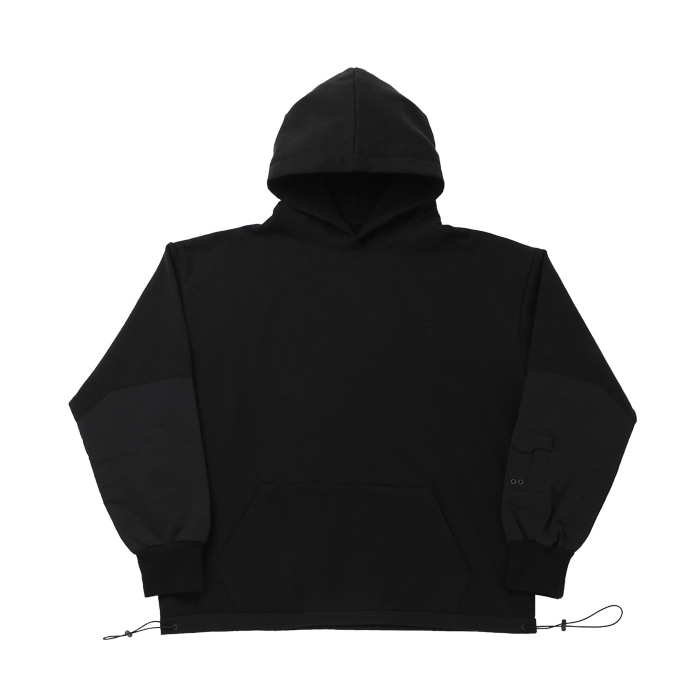 ARM POCKET OVER SIZE HOODIES BLACK
