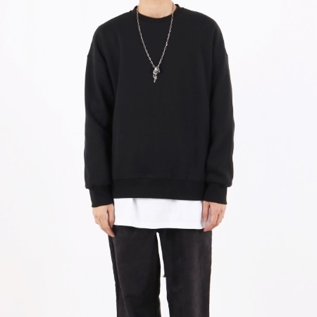 BASIC OVERFIT SWEATSHIR BLACK