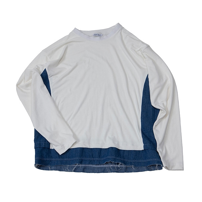 DENIM MIXED SLEEVE WHITE