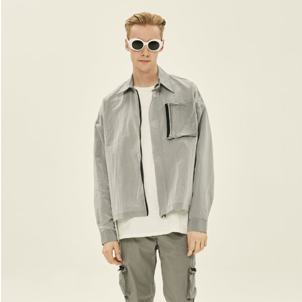 SILVER METAL POCKET JACKET