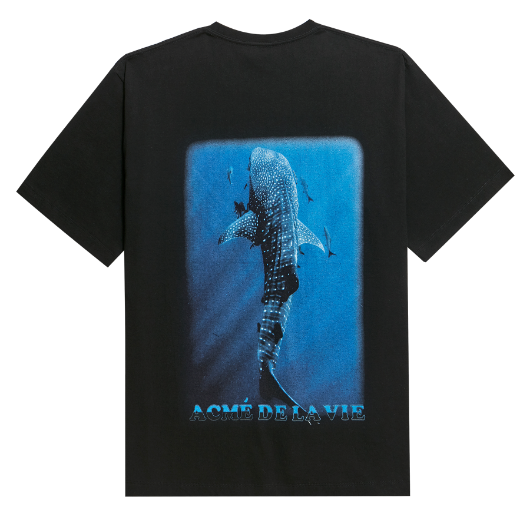 ADLV DIGITAL PRINTING SHORT SLEEVE T-SHIRT WHALE SHARK BLACK