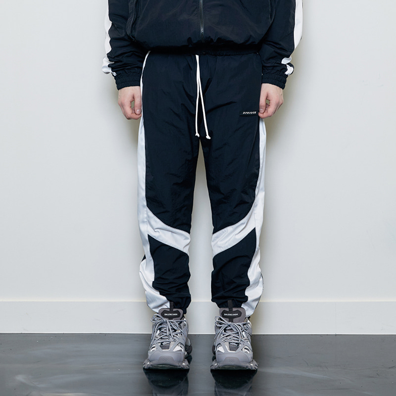 CONTRAST TRACK PANTS (BLACK/WHITE)