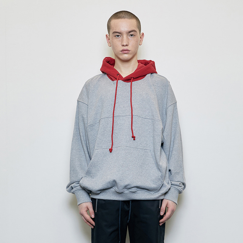 OVERSIZED CONTRAST HOODIE (RED/GREY)