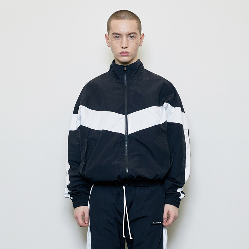 CONTRAST TRACK JACKET (BLACK/WHITE)