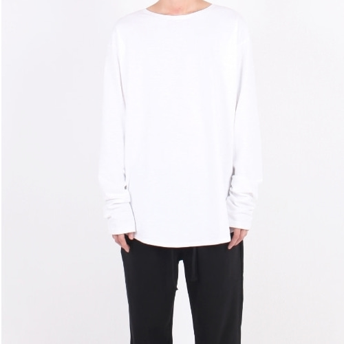 OVERFIT U-NECK LONG SLLEVE WHITE