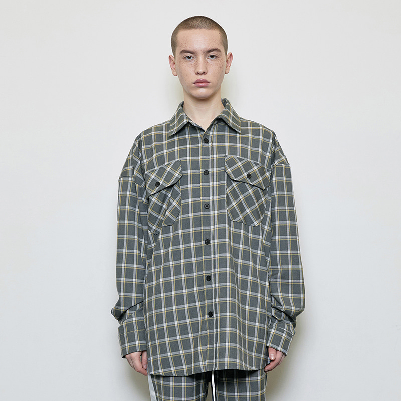 OVERSIZED CHECK SHIRT (GREY)