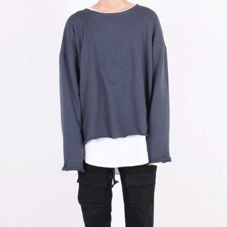 OVERFIT CUT U-NECK DARK BLUE