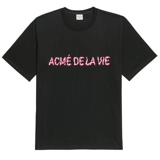 ADLV NEON LOGO SHORT SLEEVE BLACK PINK
