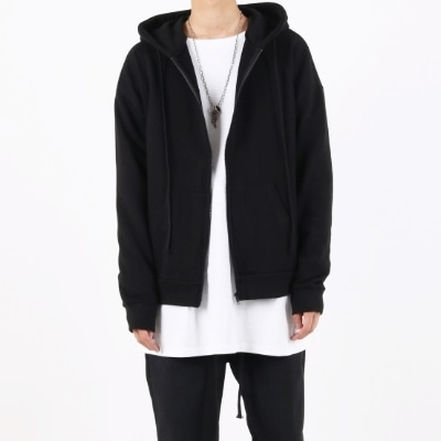 OVERFIT HOODIE ZIP UP BLACK