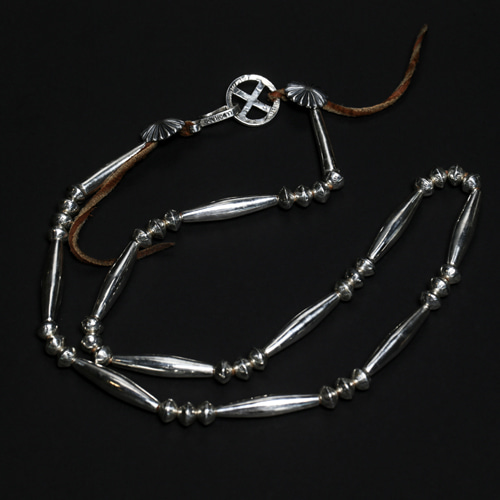 SILVER HAIRPIPE BEADS NECKLACE
