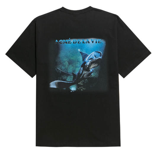 ADLV DIGITAL PRINTING SHORT SLEEVE T-SHIRT MANTA RAY ONE BLACK