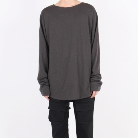 OVERFIT U-NECK LONG SLLEVE CHARCOAL