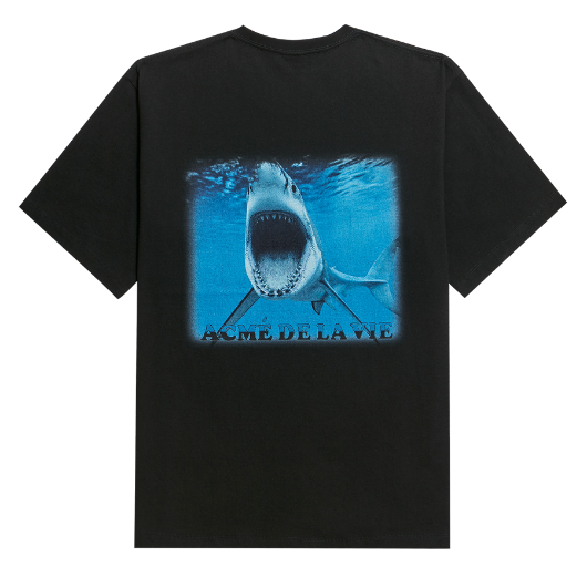 ADLV DIGITAL PRINTING SHORT SLEEVE T-SHIRT SHARK BLACK