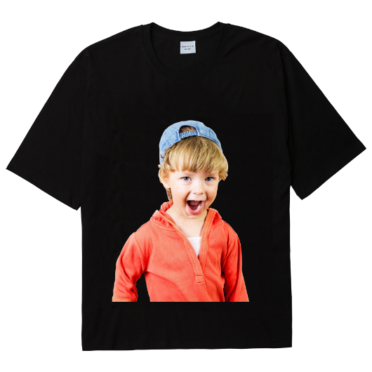 ADLV BABY FACE SHORT SLEEVE T-SHIRT BLACK RED HOODIE BOY