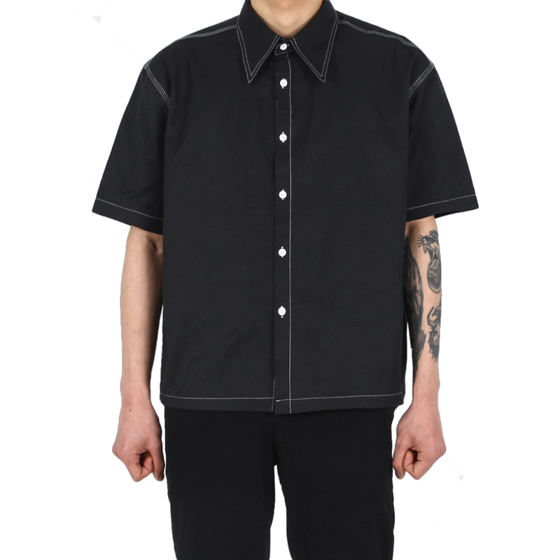 BIG COLLAR STITCH SHIRT BLACK