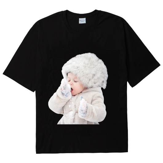 ADLV BABY FACE SHORT SLEEVE T-SHIRT BLACK SNOW