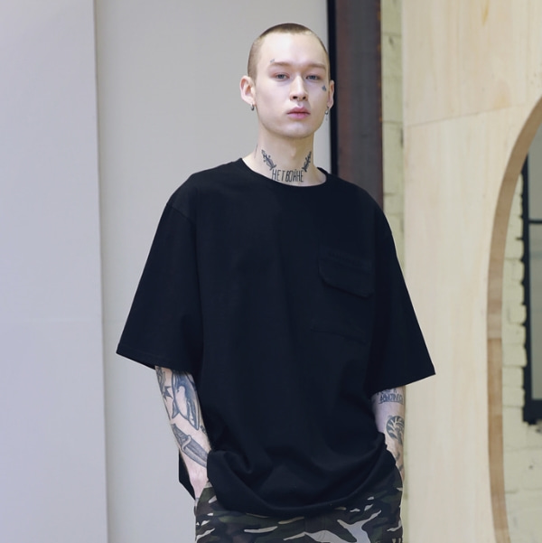 SL LOGO POCKET OVERSIZED T-SHIRTS MSNTS003-BK