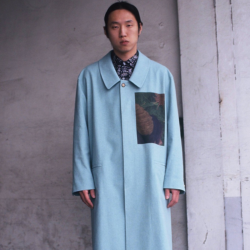 OVERSIZED LINEN PRINTING LONG COAT (MINT) OPC_003