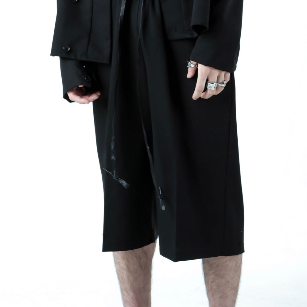 BANDING CROPPED WIDE PANTS -BLACK