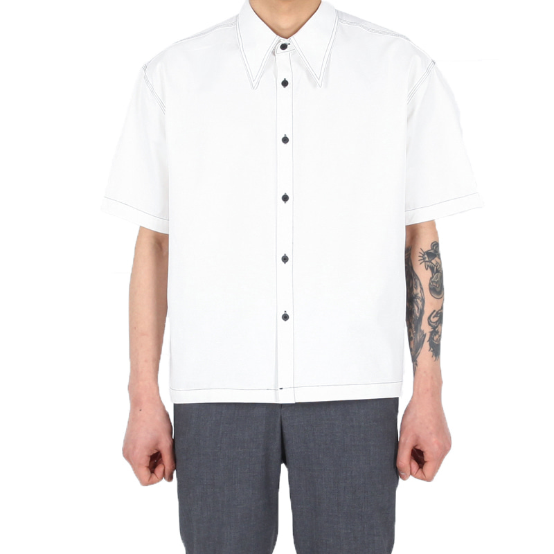 BIG COLLAR STITCH SHIRT WHITE