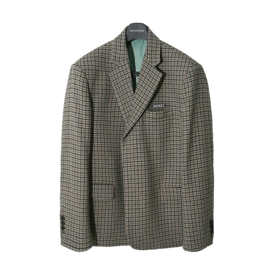 HIDDEN CHECK JACKET BRWON