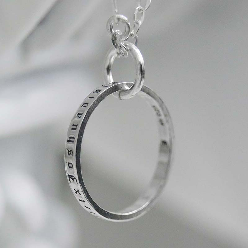 LETTERING RING CHAIN NECKLACE (SILVER 925)