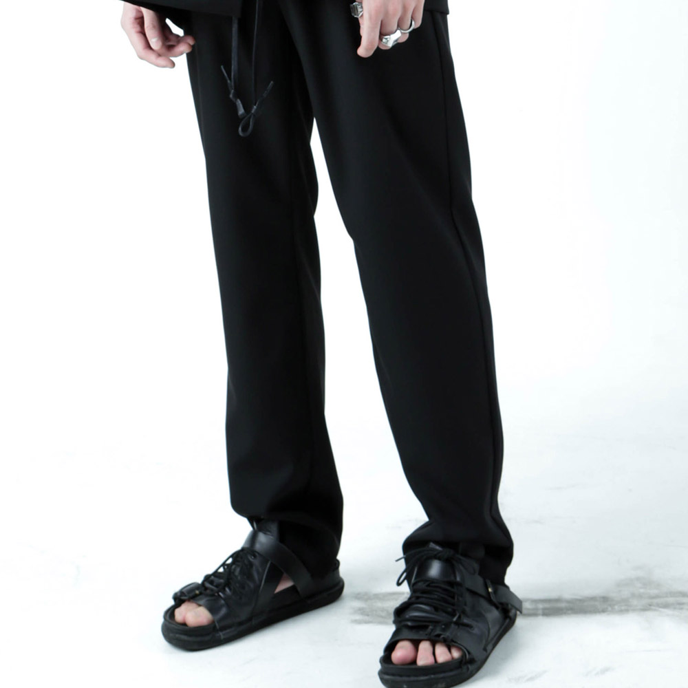 BAND&STRING WIDE PANTS - BLACK