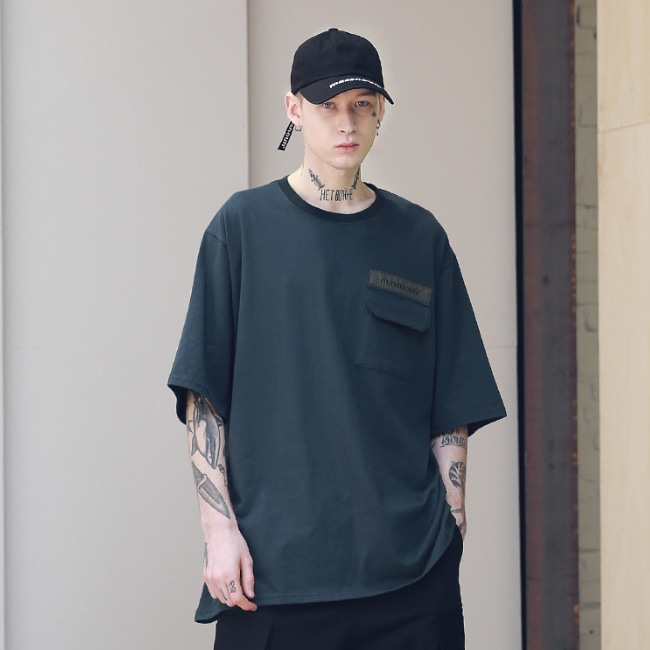 SL LOGO POCKET OVERSIZED T-SHIRTS MSNTS003-GR