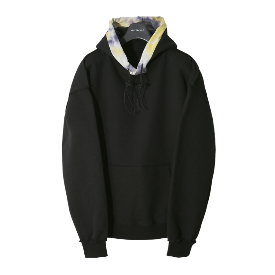 TIE-DYE LAYERED SWEAT HOOD (BLACK)