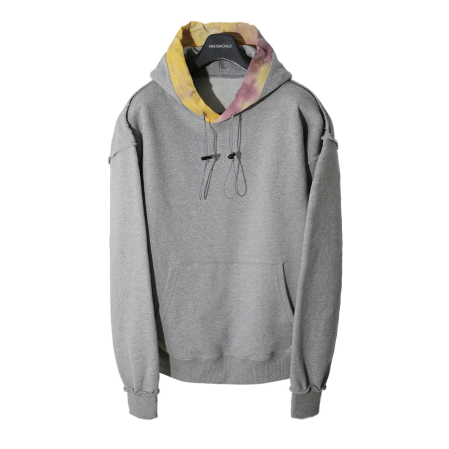 TIE-DYE LAYERED SWEAT HOOD (GREY)