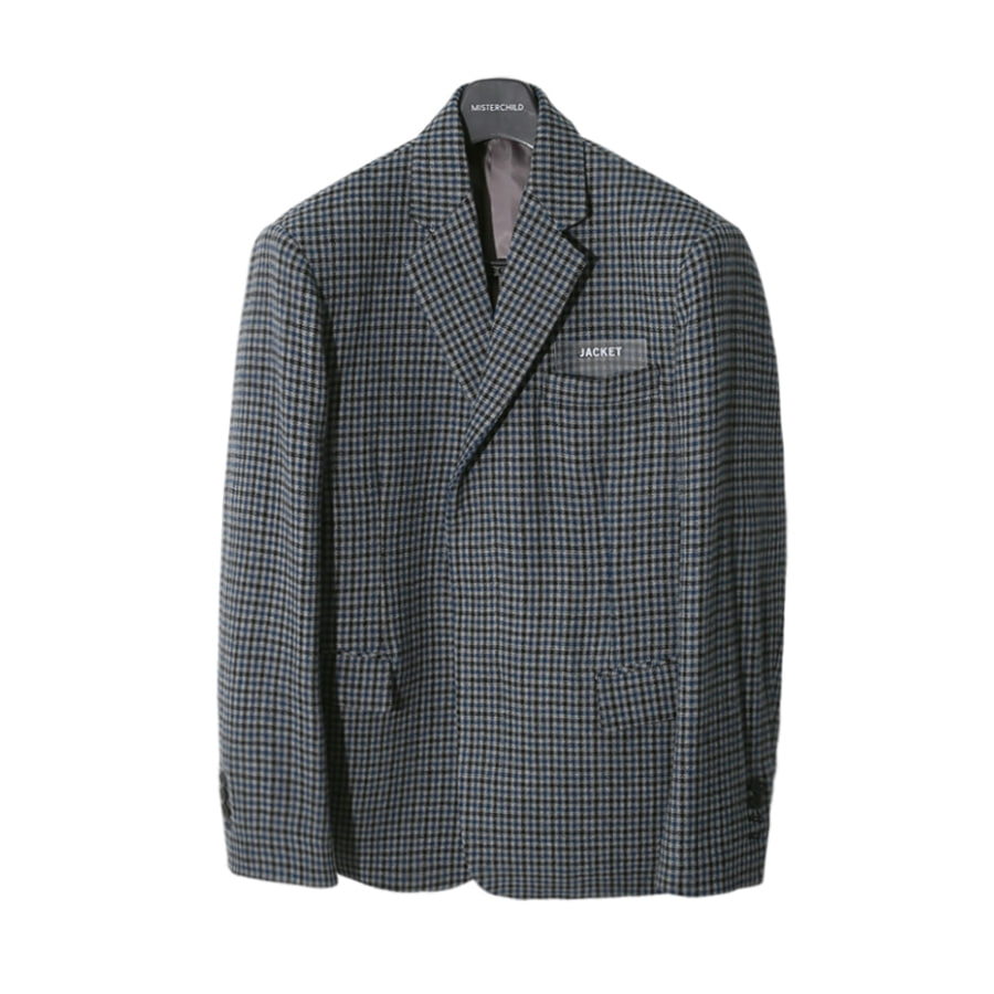 HIDDEN CHECK JACKET GREY