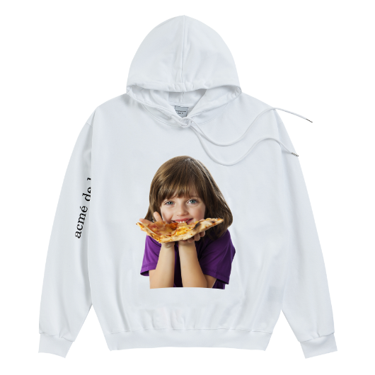 ADLV BABY FACE HOODIE WHITE PIZZA