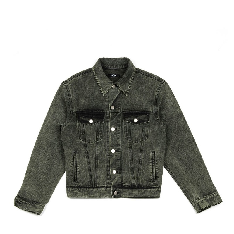STONE WASHED DENIM JACKET_GREEN