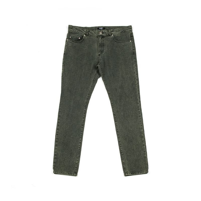 STONE WASHED SKINNY JEANS GREEN