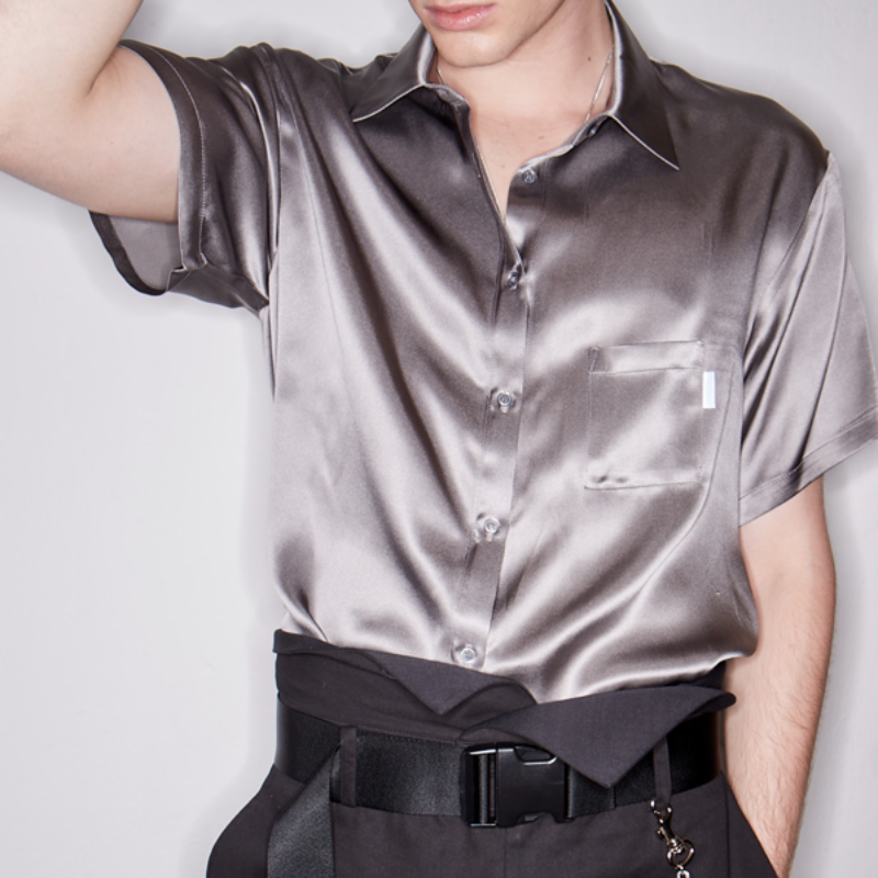 SHORT SLEEVE UNBALANCE CUT SILK SHIRT