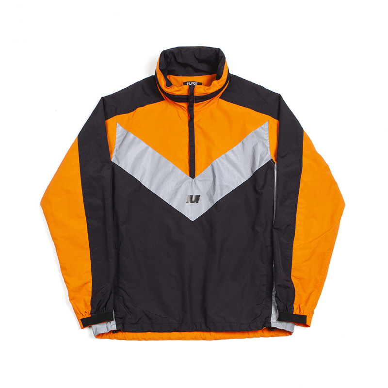 REFLECTIVE HOODED TRACK TOP BLACK/ORANGE