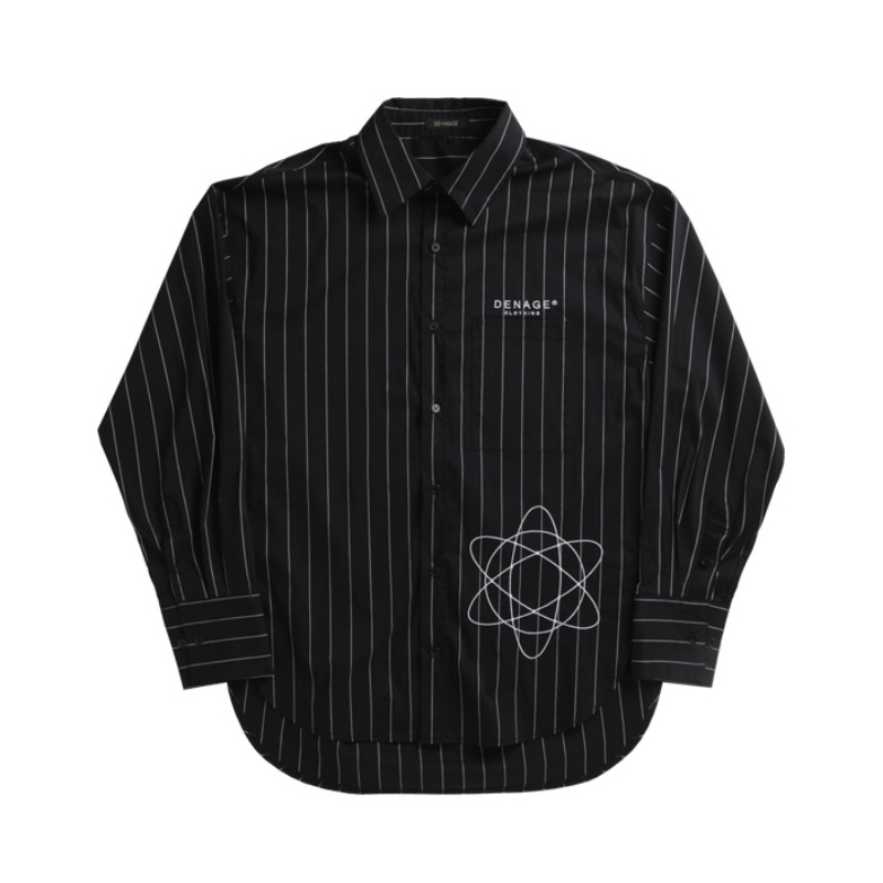 D.E STRIPED OVER SHIRT BLACK