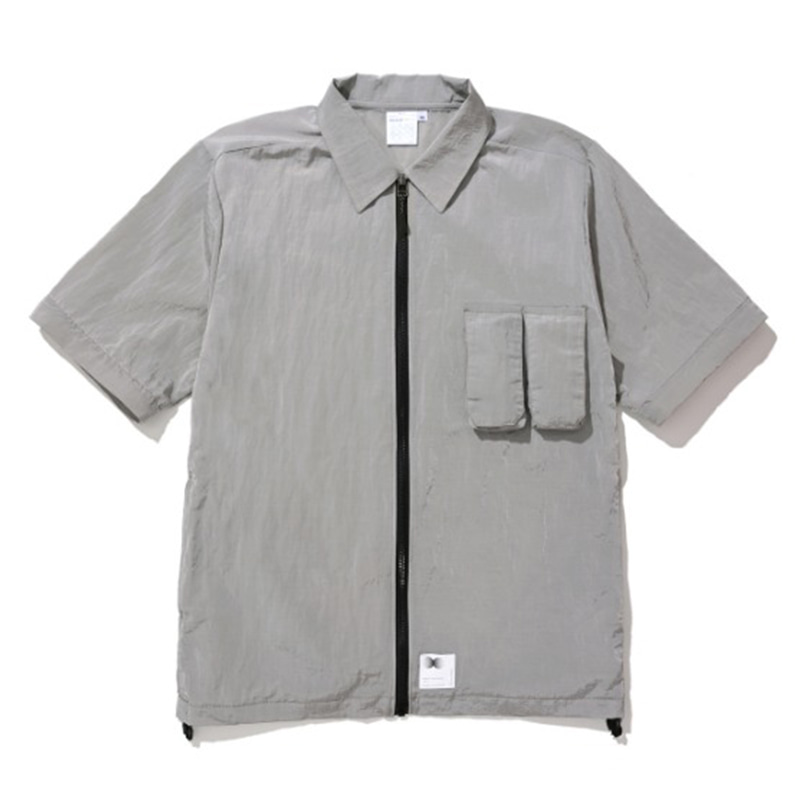 ZIPPERED HYBRID OVER SHIRT GREY