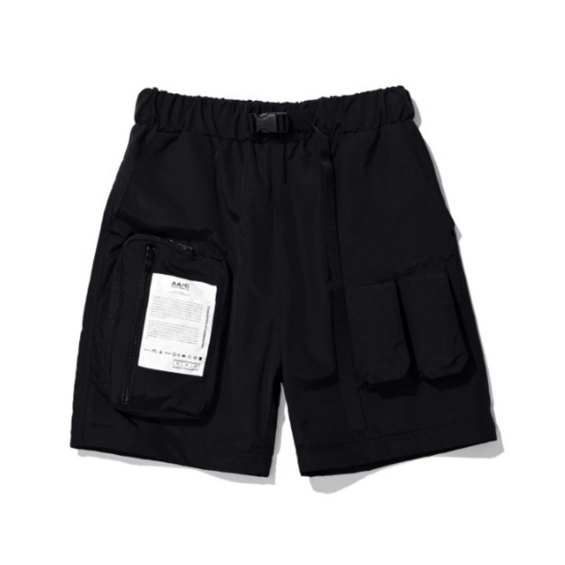ZIPPERED HYBRID SHORTS BLACK