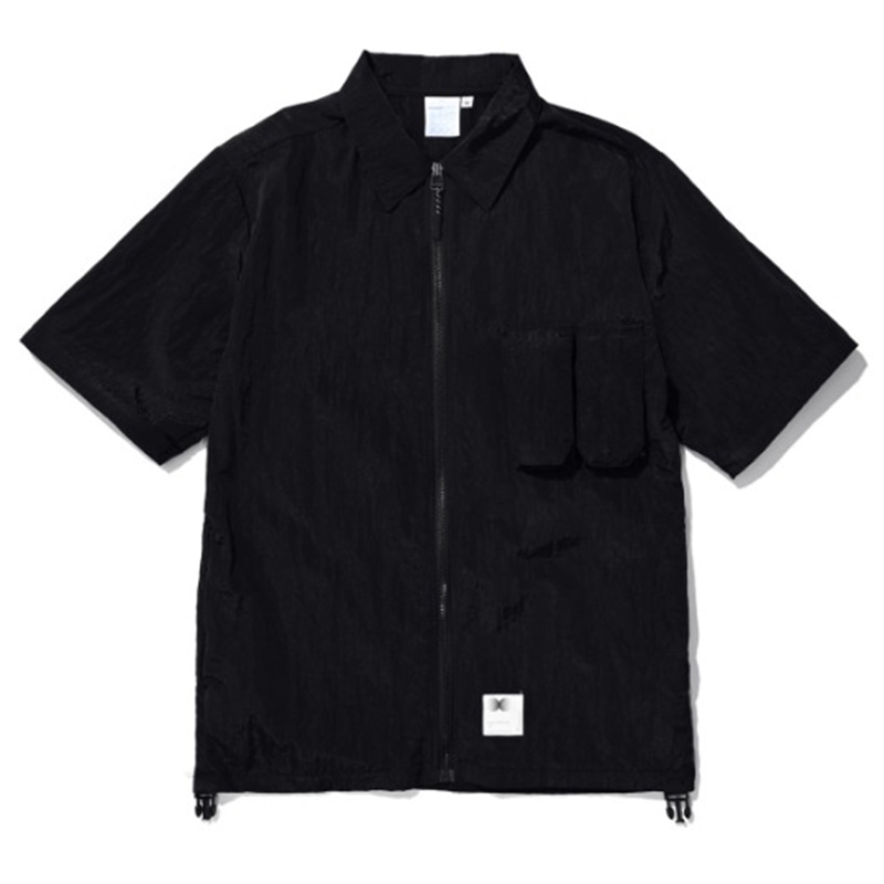 ZIPPERED HYBRID OVER SHIRT BLACK