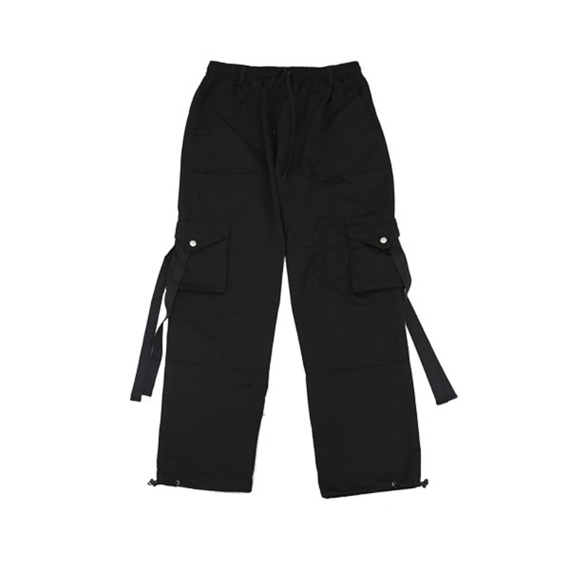 IDDEN STRAP POCKET PANTS BLACK