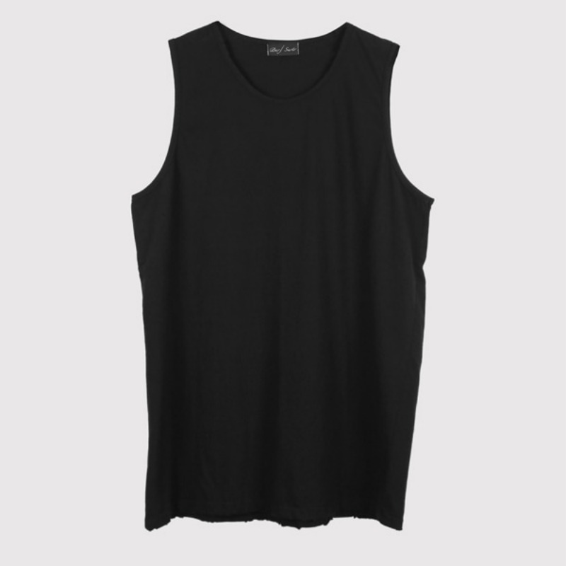 LAYERED LONG SLEEVELESS BLACK