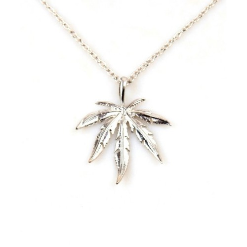 WEED LEAF METAL SILVER CHAIN NECKLACE