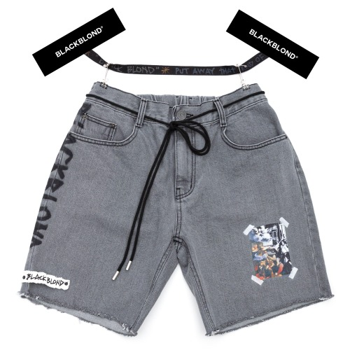 BBD INNOCENT DENIM SHORTS DARK GRAY